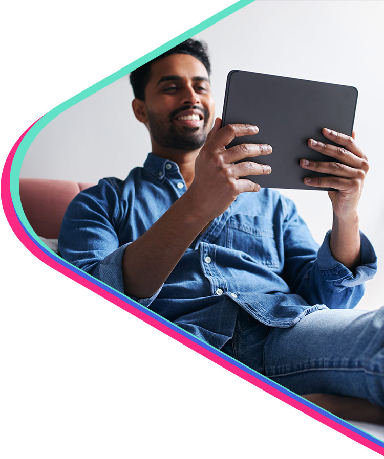 man watching video on tablet